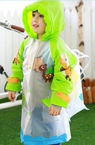 Lemonkid◆正韓充氣帽檐小兔大象恐龍貓頭鷹動物款兒童書包位雨衣-綠色恐龍