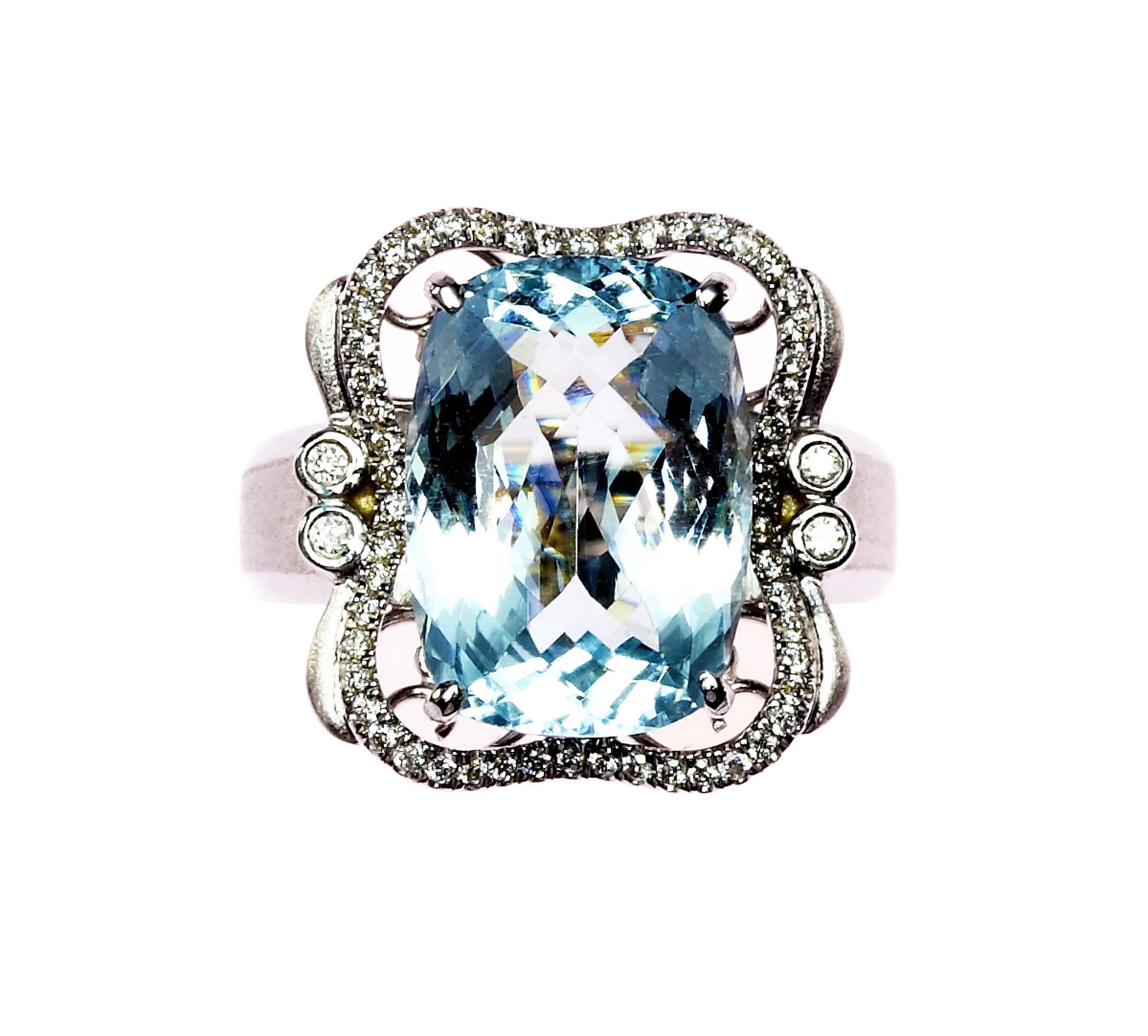 ~樂采珠寶~18白K金 風華-海水藍寶珠寶戒指.