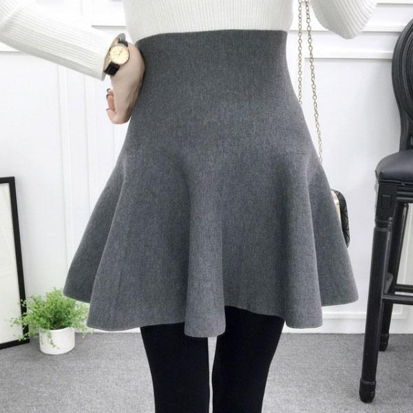 針織 短裙 A字裙 蓬蓬裙 高腰 長腿 百搭 顯瘦 傘裙 百褶 荷葉波浪 彈性 韓 黑灰藍綠紅