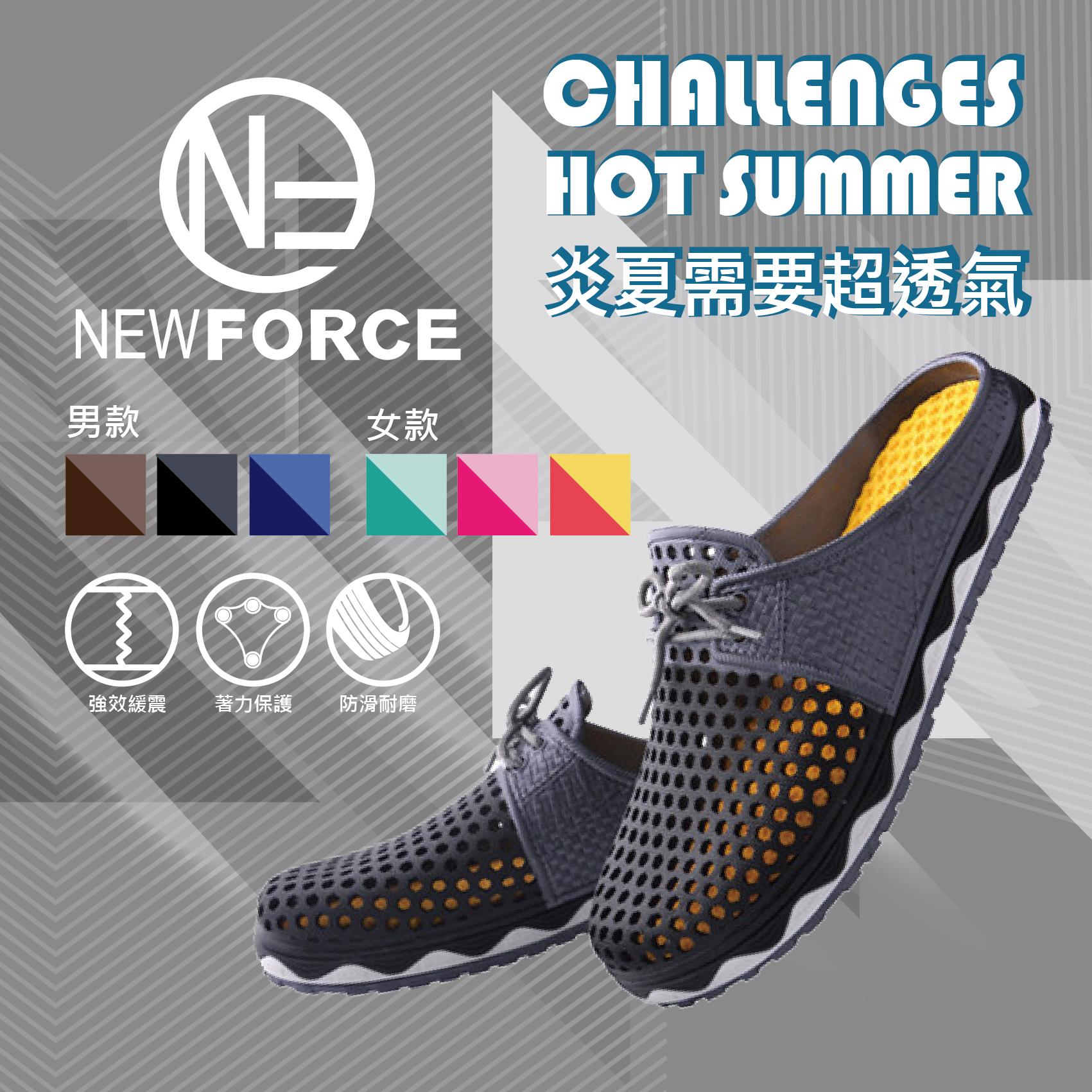 【NEW FORCE】超動感雙色軟Q洞洞鞋- 男款/3色可選【 6010107】