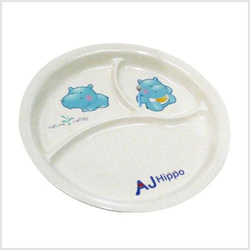 【奇買親子購物網】AJ Hippo小河馬【環保植物纖維餐具】三格圓盤【耐摔、可微波】