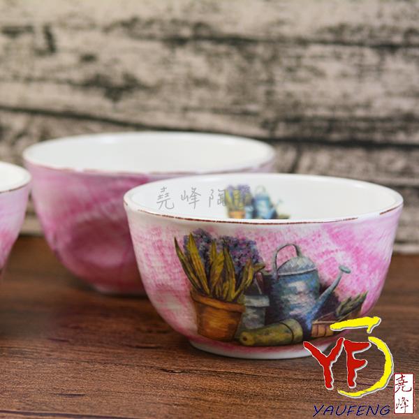 ★堯峰陶瓷★韓國 韓式飯碗 4吋骨瓷布紋碗 水彩畫花瓶 單入