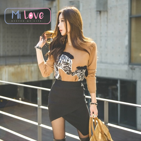MiLove ↗ 夜店賣騷必備不規則開叉針織包臀裙 ☆【K12】