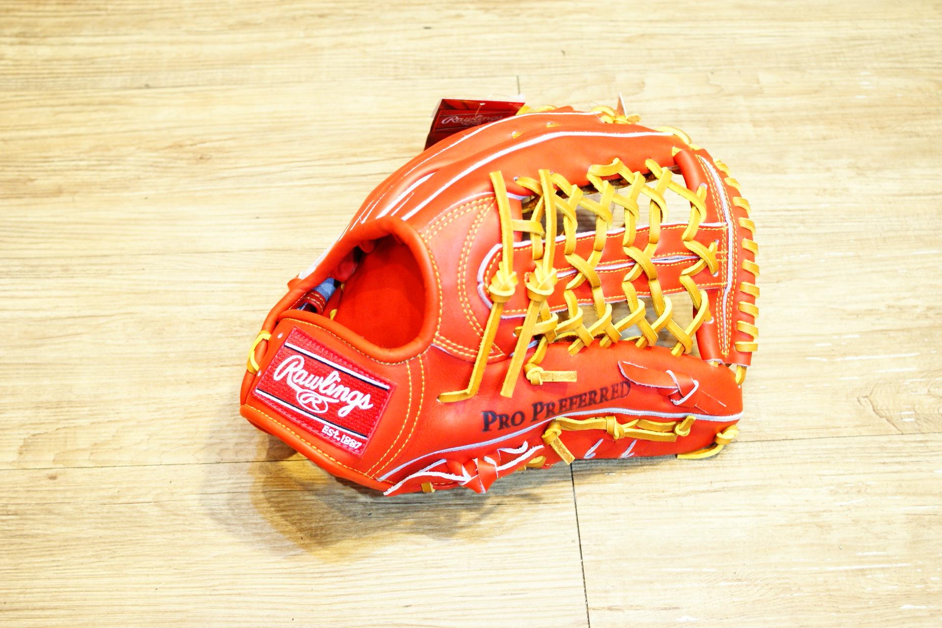 棒球世界全新日本進口Rawlings 棒球用手套 特價 橘紅色外野T網 日製