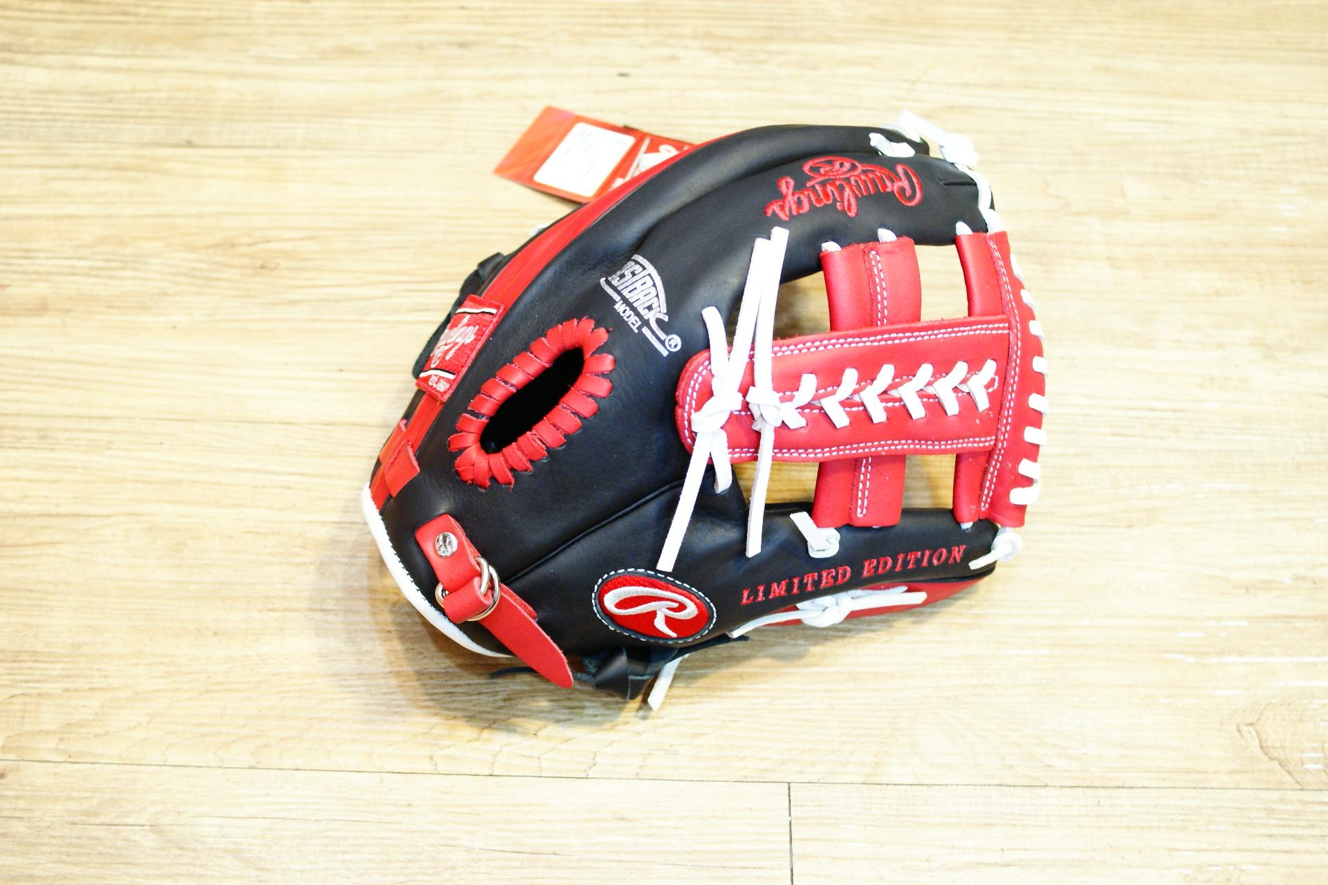 棒球世界全新日本進口Rawlings 棒球用手套特價 11.75吋 黑紅配色