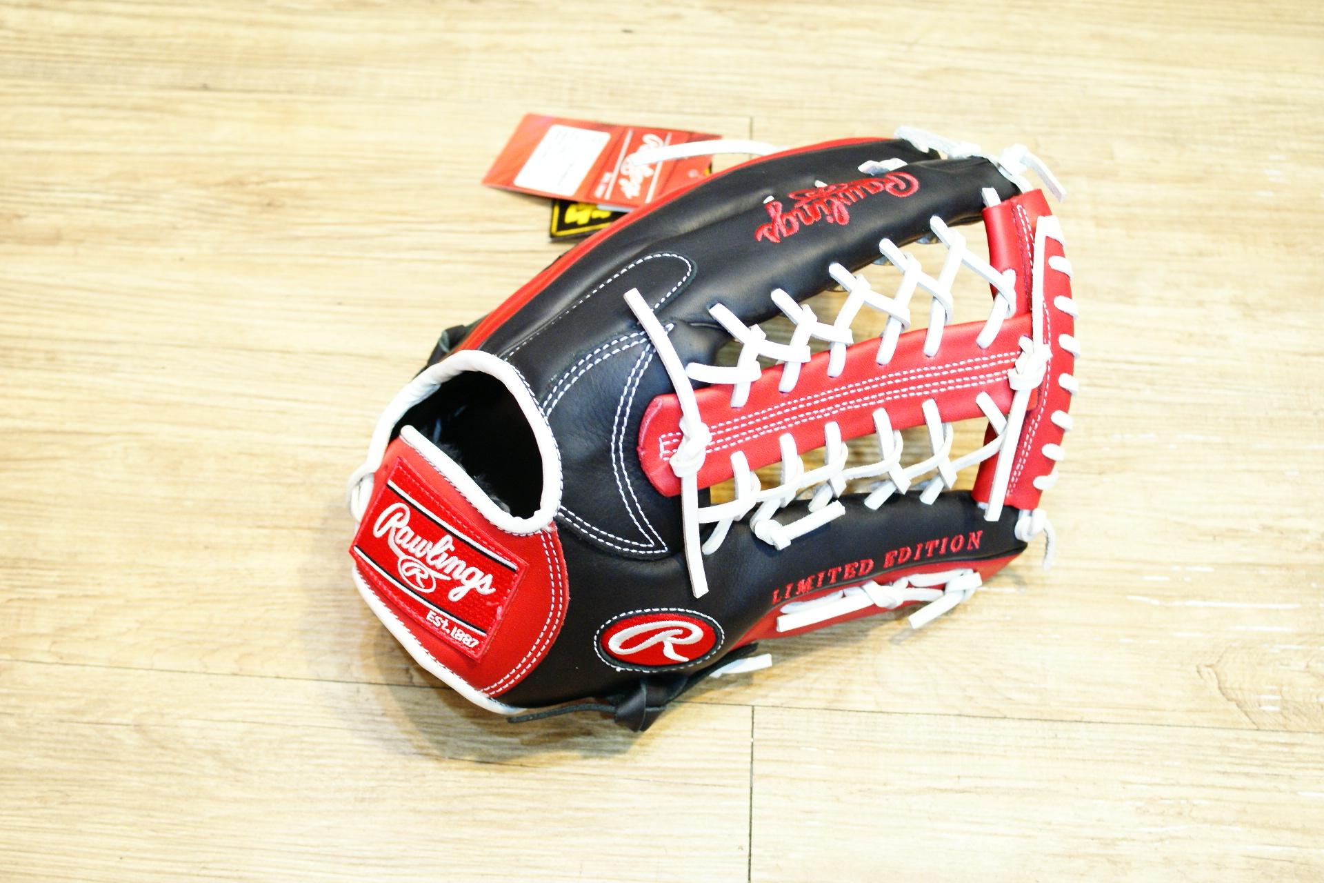 棒球世界全新日本進口Rawlings 棒球用手套特價 12.5吋 黑紅配色