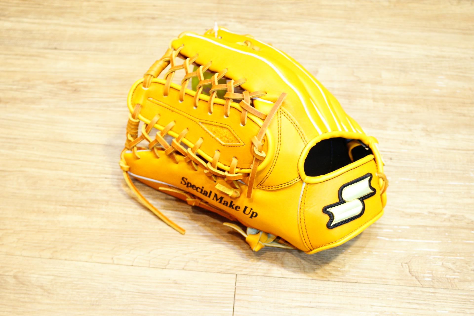 棒球世界 全新 店訂版SSK棒壘通用牛皮外野手套特價   牛舌檔 原皮色 反手