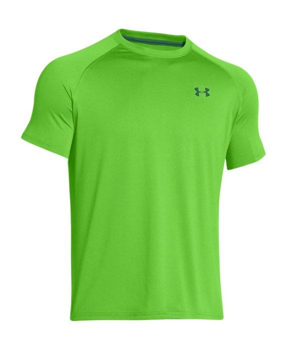棒球世界 全新UA圓領短袖排汗衣 特價 蘋果綠配色