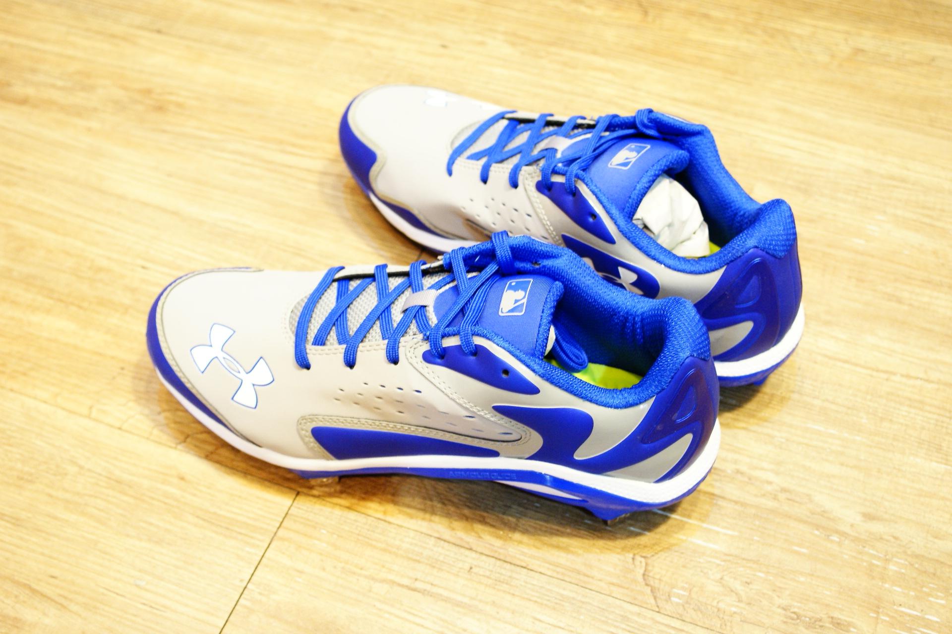 棒球世界 全新 Under Armour 灰藍配色棒球鐵釘鞋