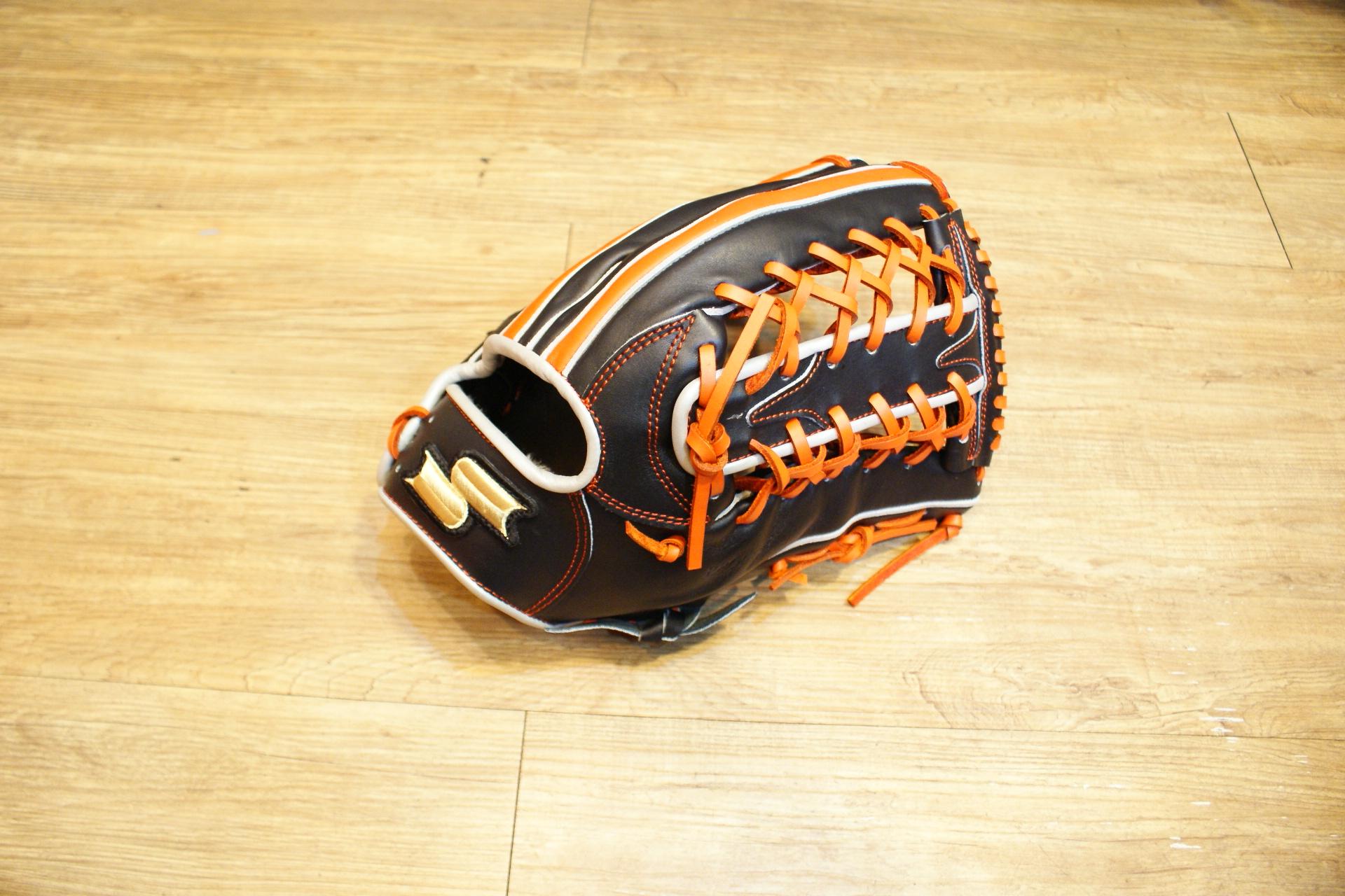 棒球世界全新店訂版SSK全牛皮硬式手套 特價 外野手黑橘配色