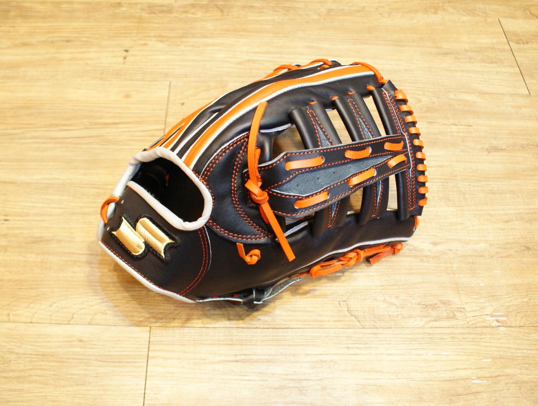 棒球世界全新店訂版SSK全牛皮硬式手套 特價 外野手雙十字黑橘配色