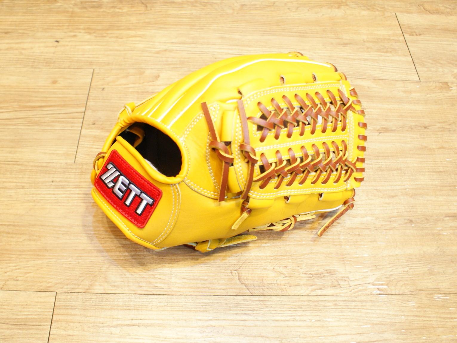 棒球世界 全新zett原皮色棒壘球手套 特價 網狀球檔 12.吋