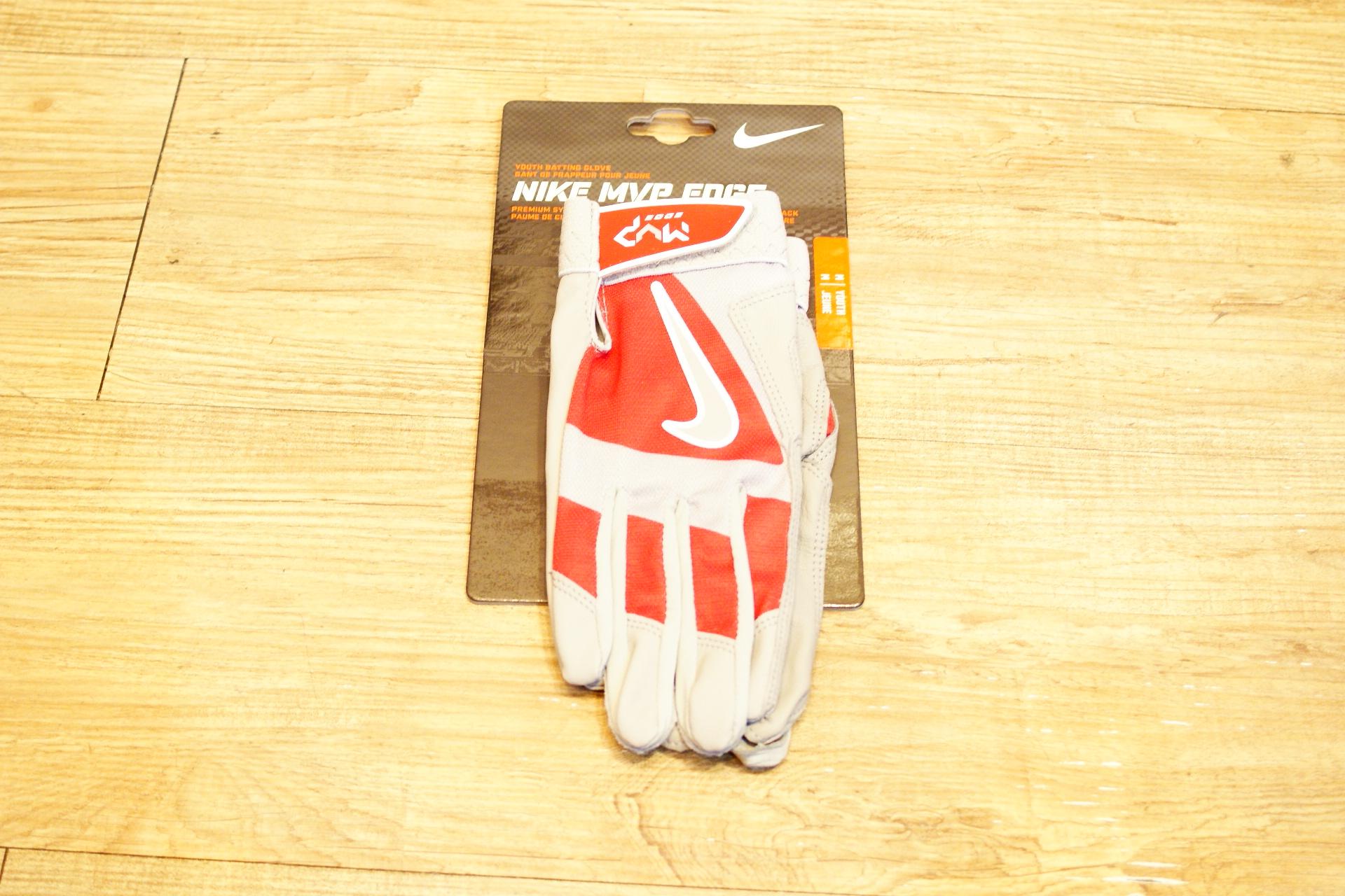 棒球世界 Nike MVP YOUTH 最新款打擊手套每雙特價 紅灰色 國小使用