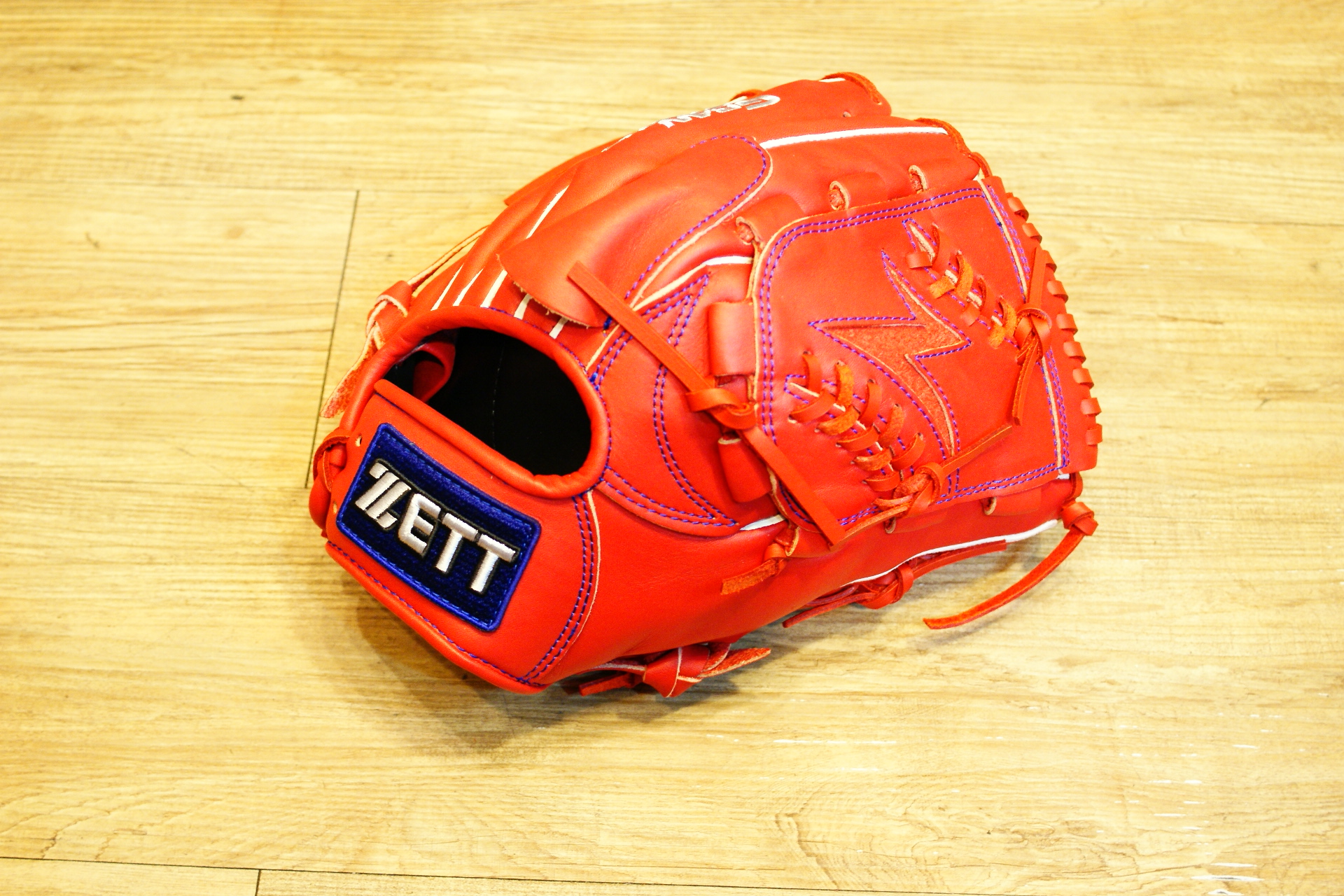 棒球世界全新店訂版ZETT全牛皮硬式手套 特價 投手紅色 限量