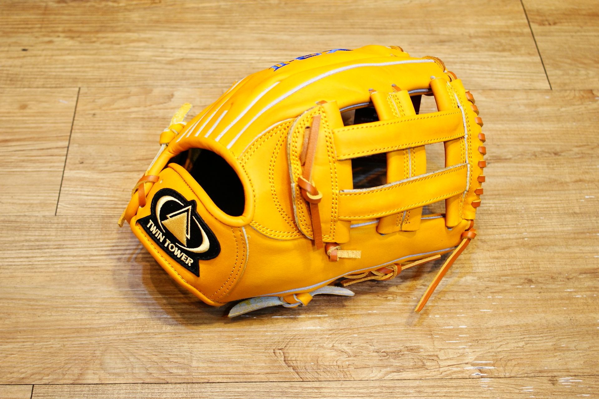 棒球世界 全新雙塔 X3 職棒級牛皮 棒壘手套 內野井字特價 限量原皮黃色款