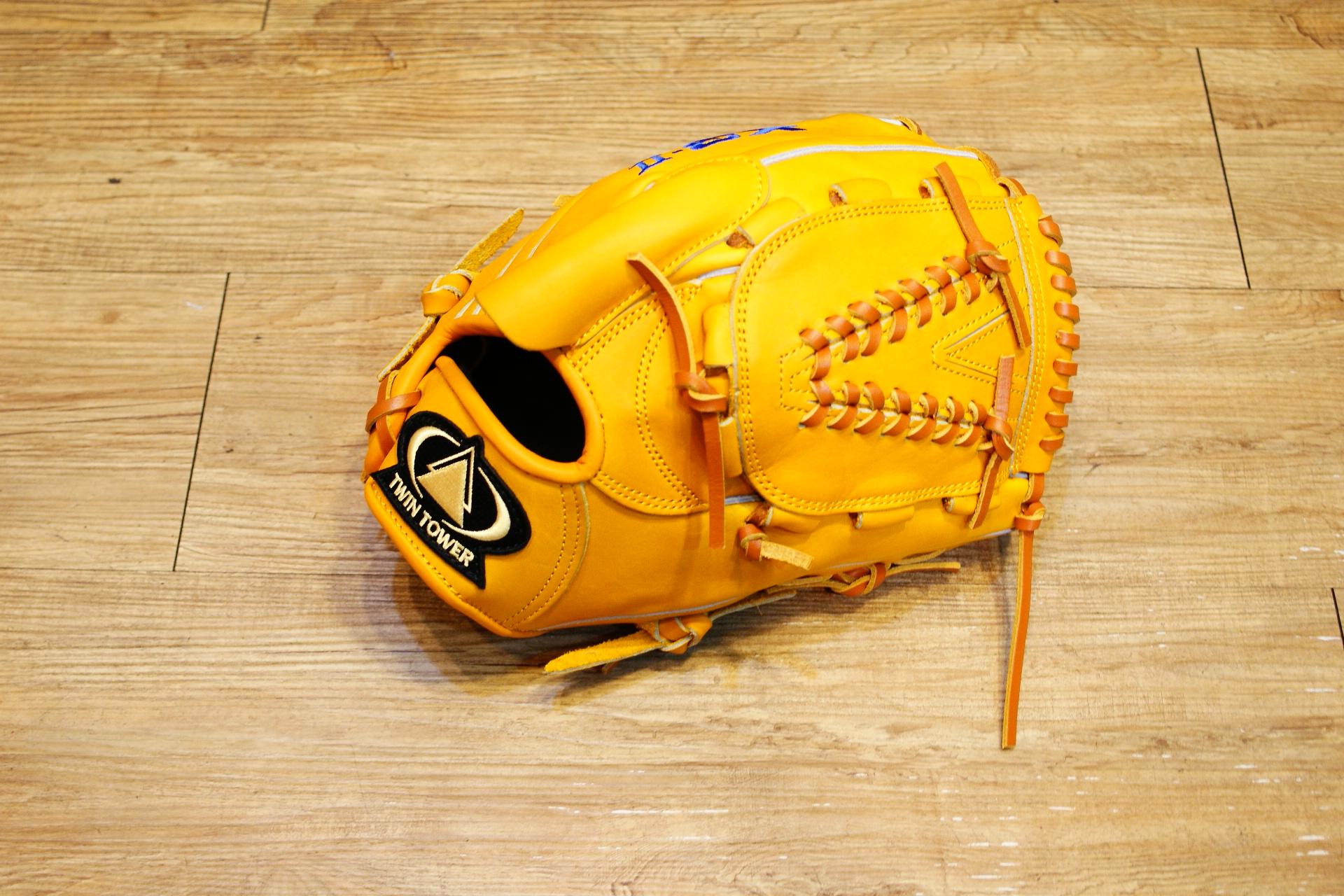 棒球世界 全新雙塔 X3 職棒級牛皮 棒壘投手手套 特價 限量原皮黃色款
