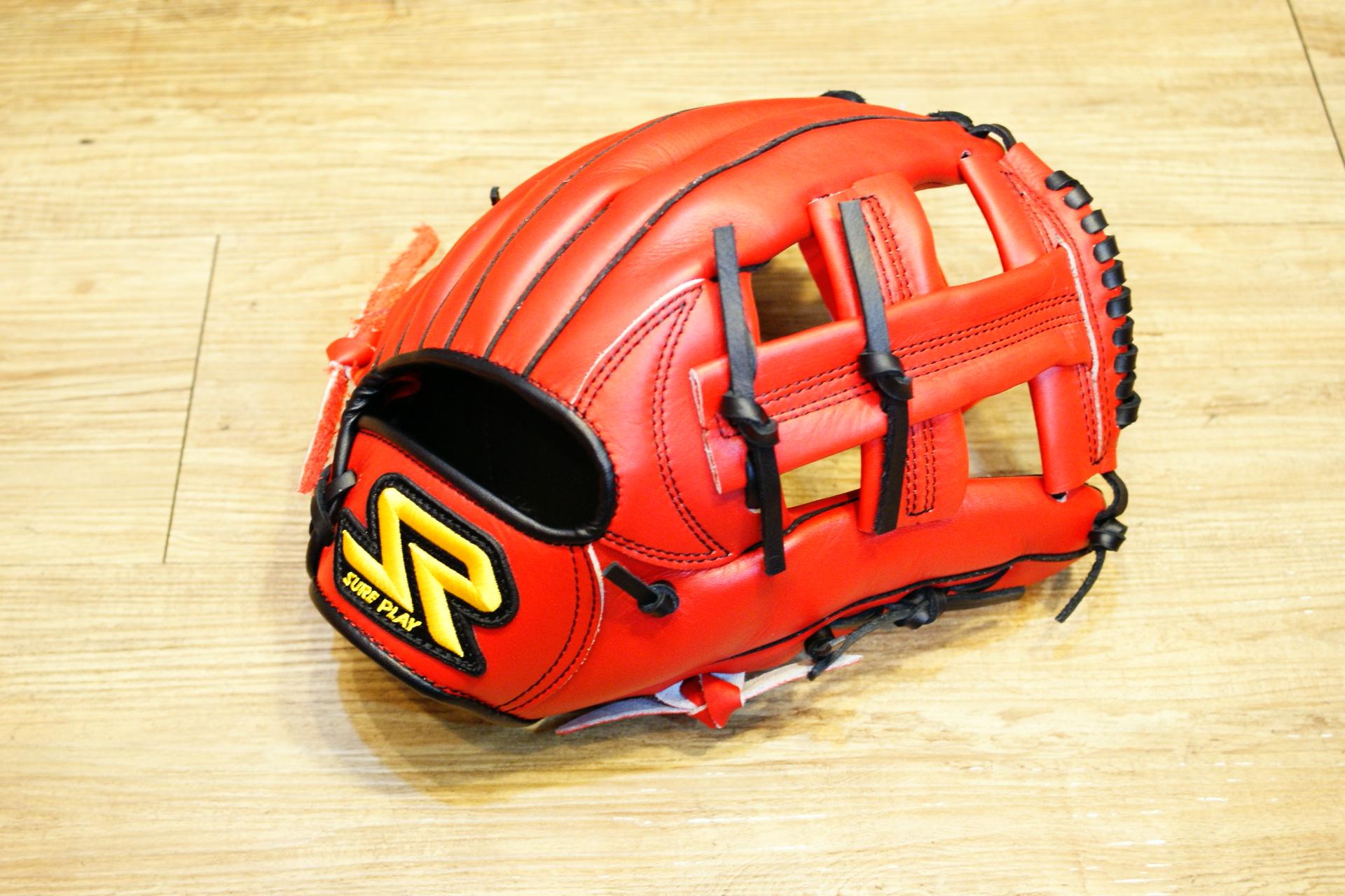 棒球世界 SURE PLAY 日本品牌 內野北美牛皮 棒壘手套 特價 血紅色 十字