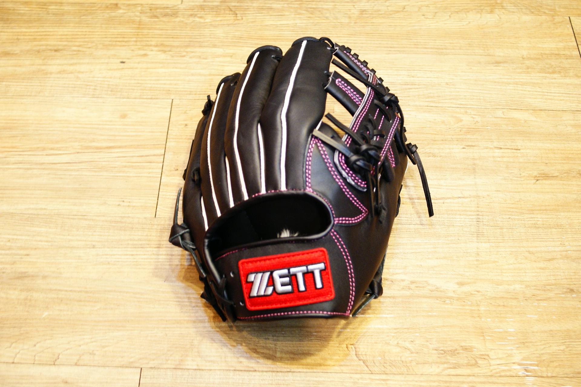 棒球世界 全新ZETT棒壘球內野十字牛皮手套 黑色 特價 加送手套袋 8715系列