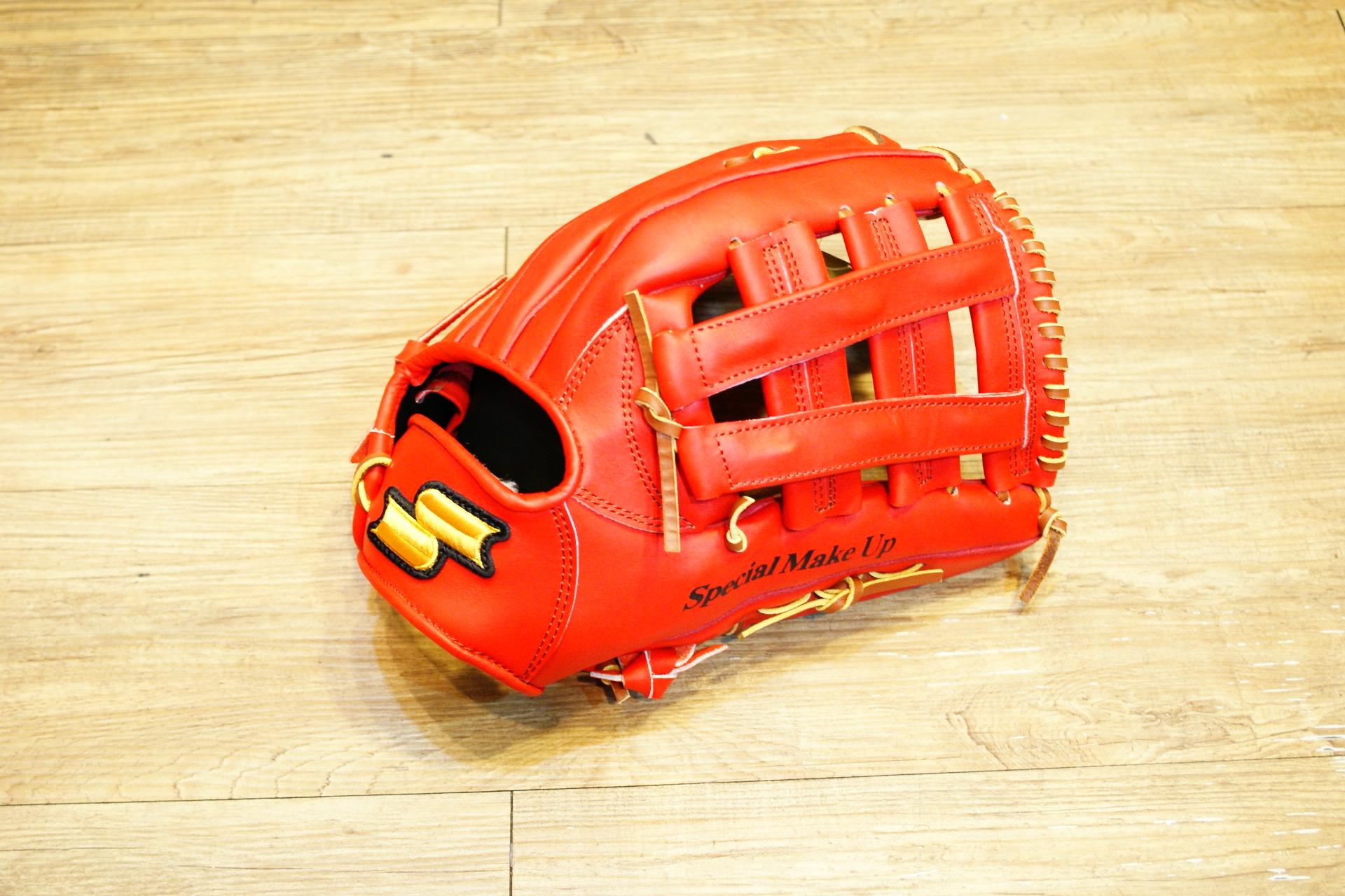 棒球世界全新SSK金標全牛皮棒壘球手套 外野井字球檔 特價 紅色