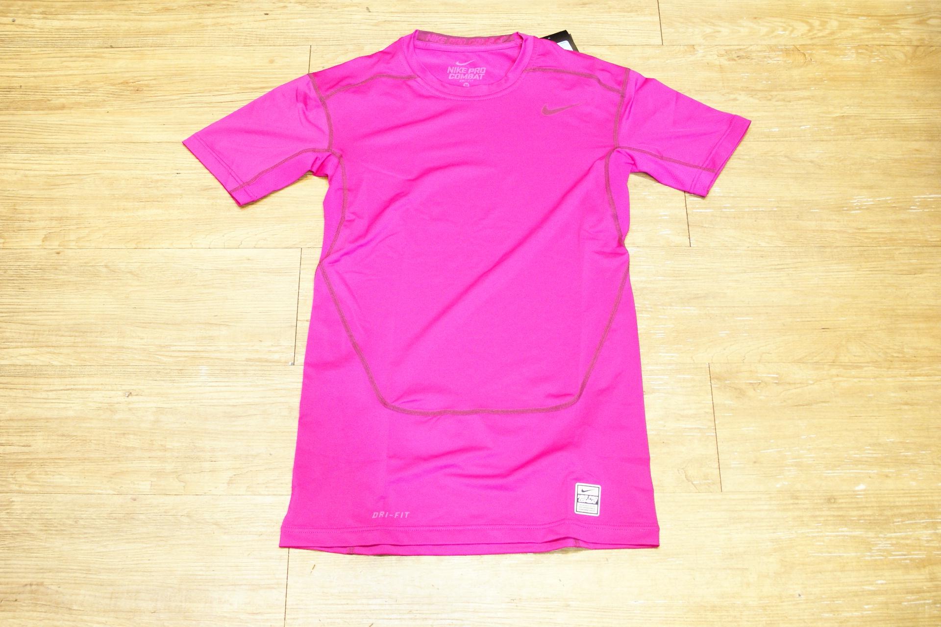棒球世界 15年nike短袖緊身衣 粉紅色款 特價
