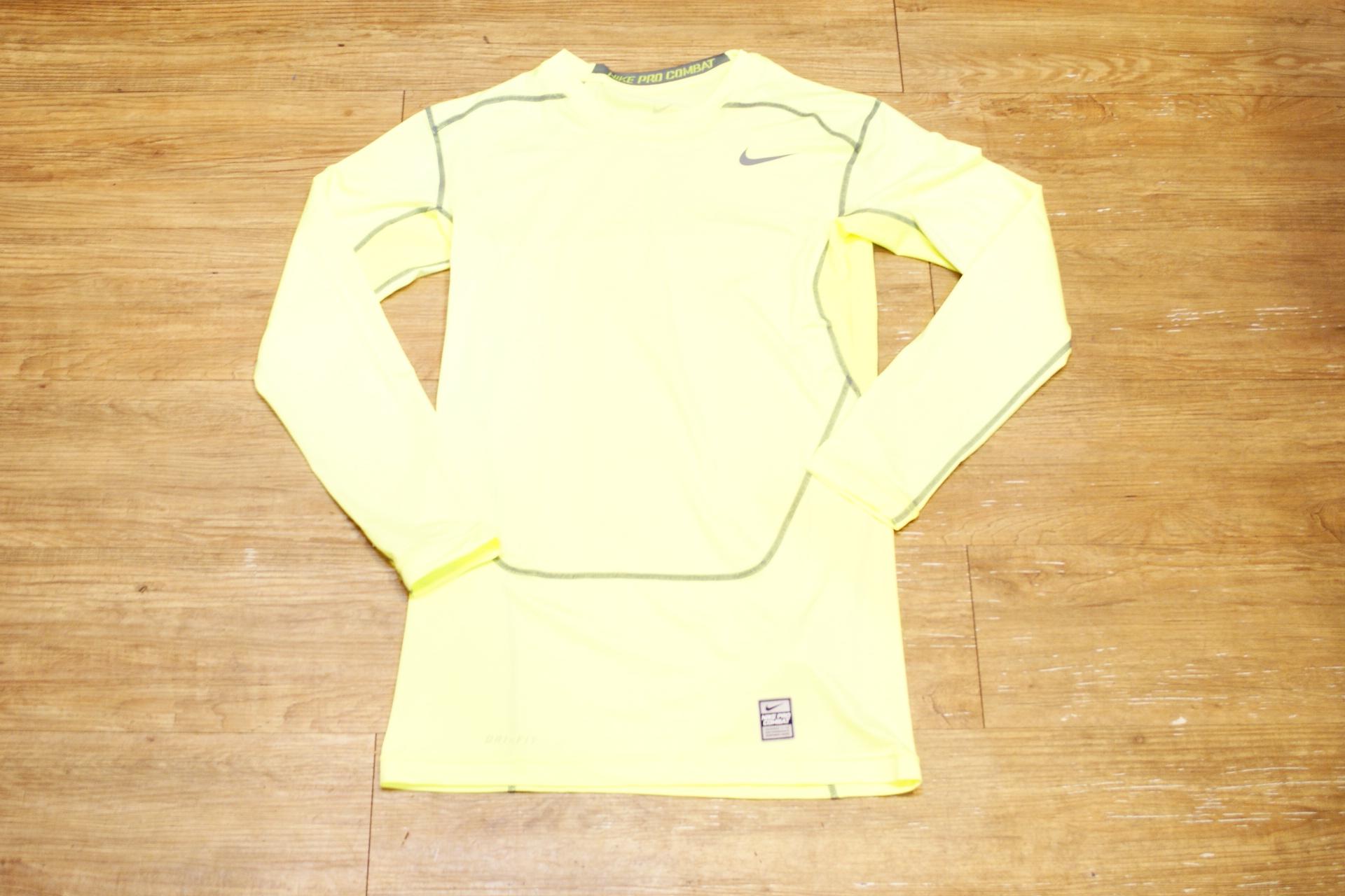 棒球世界 15年nike長袖緊身衣 螢光色款 特價