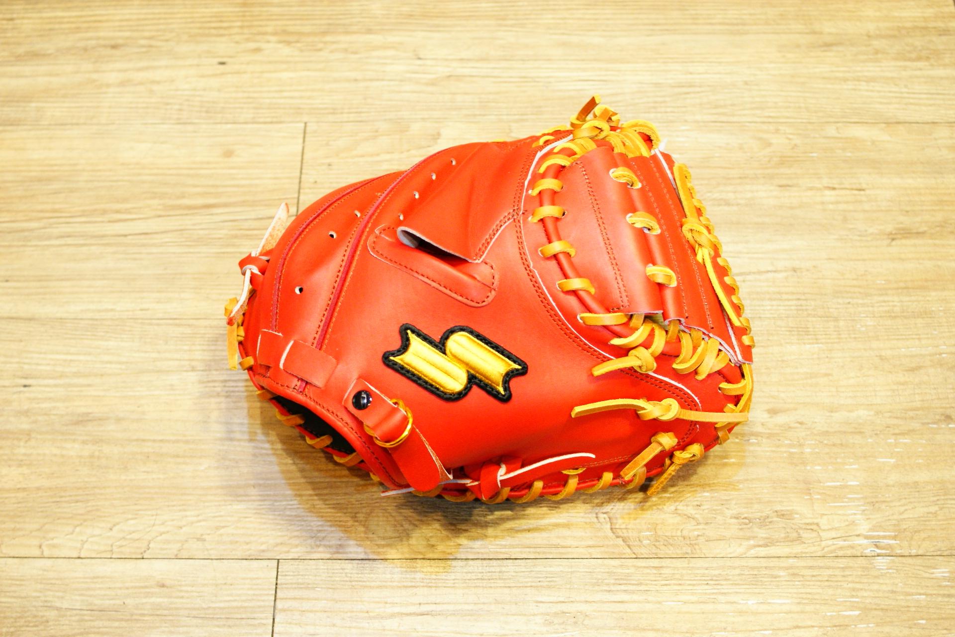 棒球世界 新款 SSK店訂版牛皮棒球捕手手套 特價 橘紅色