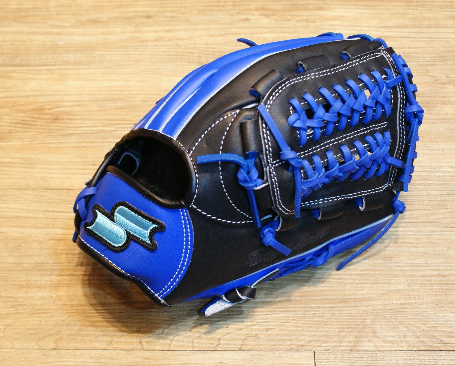 棒球世界 全新SSK SUPER SOFT 棒壘球手套 特價 黑藍配色