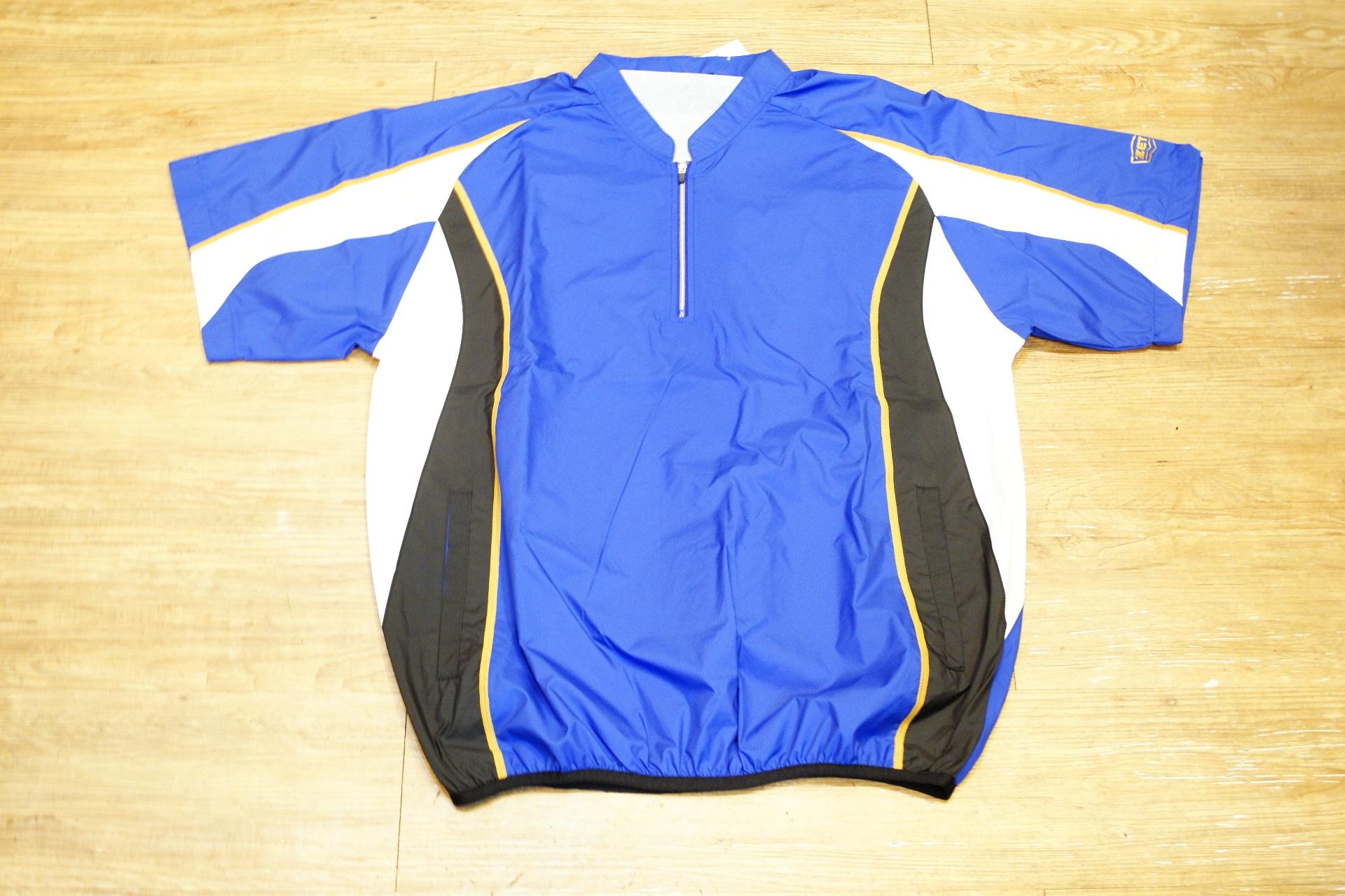 棒球世界 全新ZETT日本進口短袖風衣 特價 新本壘版 寶藍底