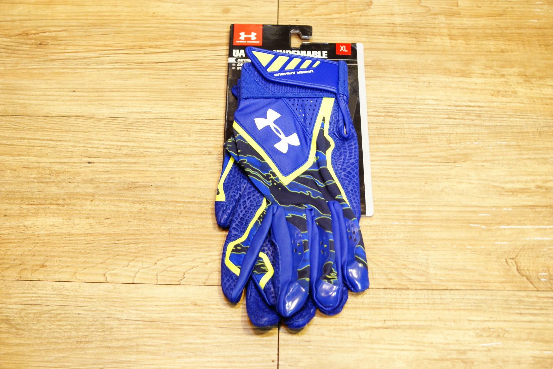 棒球世界 全新Under Armour UA Yard Phenom打擊手套 藍螢光配色 特價 小羊皮