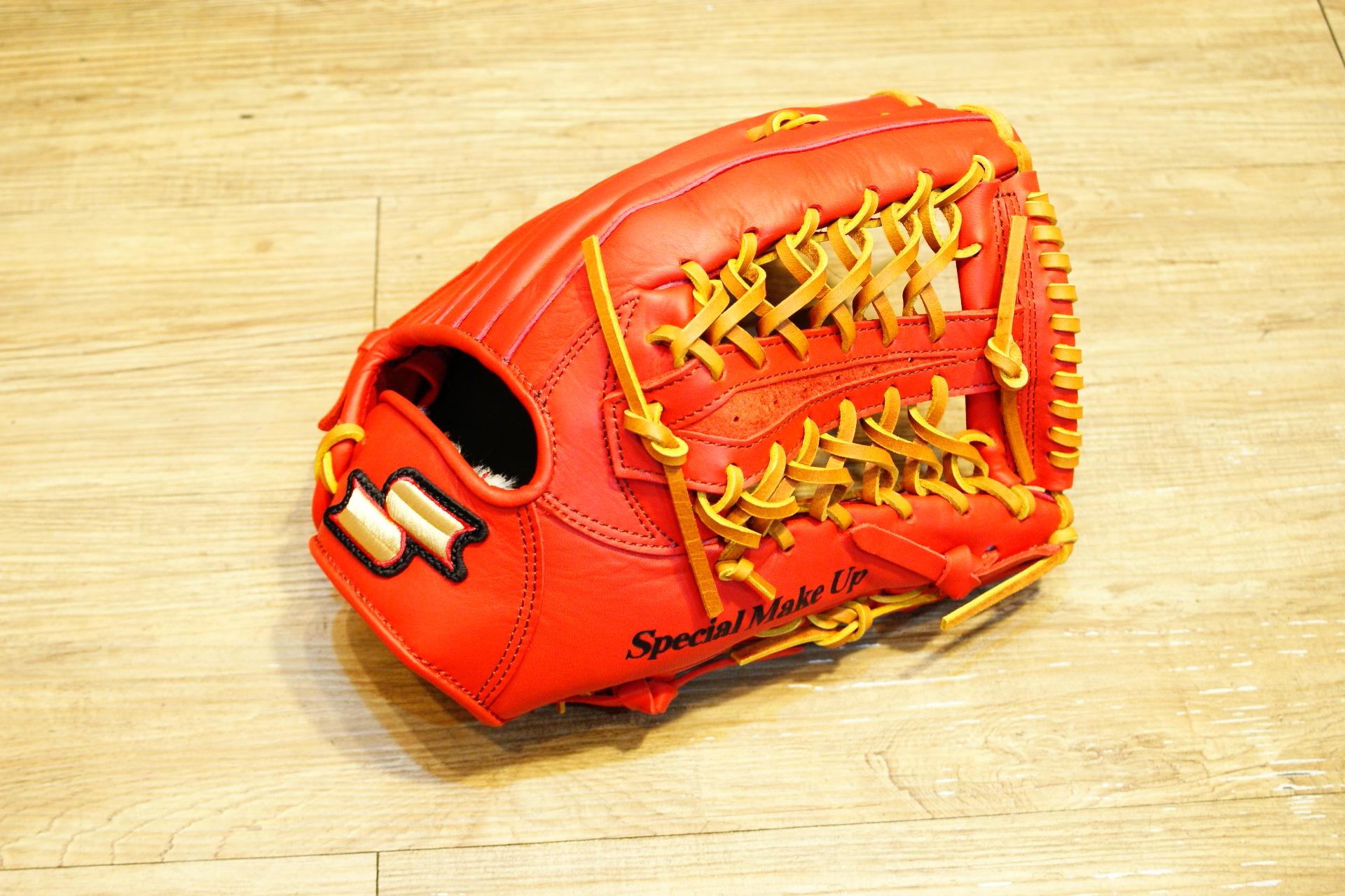 棒球世界全新SSK金標全牛皮棒壘球手套 外野鑽石T網球檔 特價 紅色