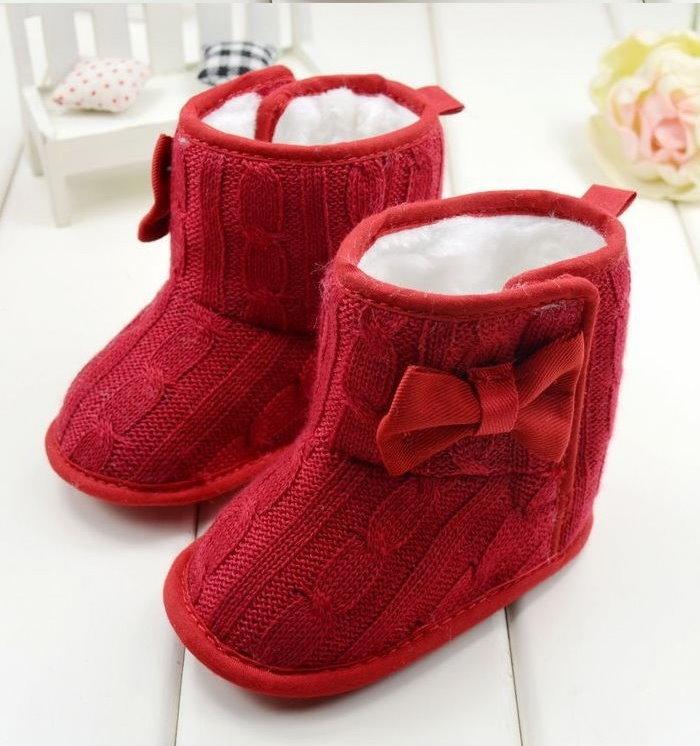 冬季女寶寶雪靴保暖靴子軟底防滑蝴蝶結針織靴/紅色