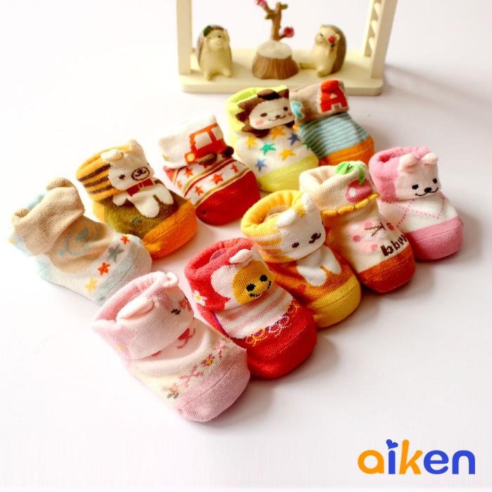 韓國 純棉 寶寶襪 嬰兒襪 嬰幼兒 新生兒 0~12個月 禮盒 五雙組 男寶寶 女寶寶 J2717-008 【艾肯居家生活館】