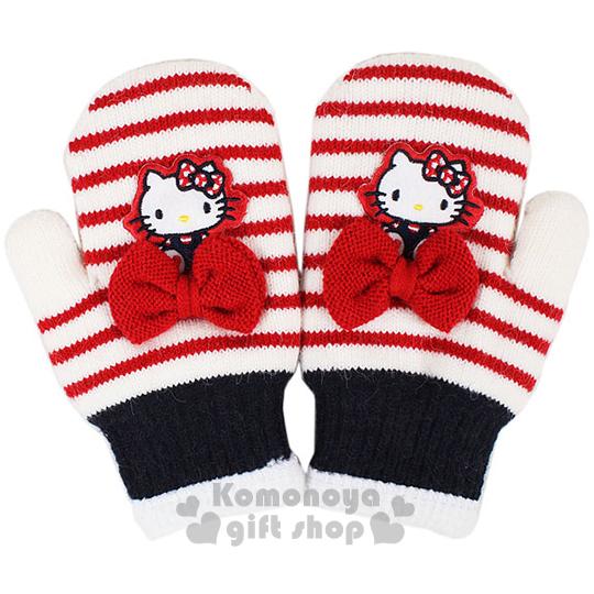 〔小禮堂〕Hello Kitty 兒童針織手套《紅白.坐姿.條紋.蝴蝶結.連指》秋冬禦寒小物