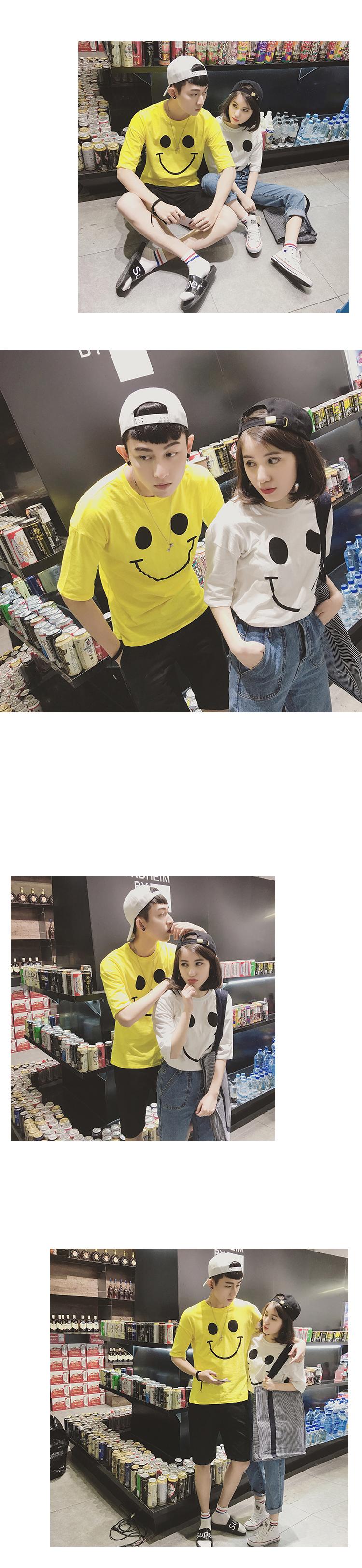 ◆快速出貨◆T恤.情侶裝.班服.MIT台灣製.獨家配對情侶裝.客製化.純棉短T.大大大笑臉【Y0183】可單買.艾咪E舖