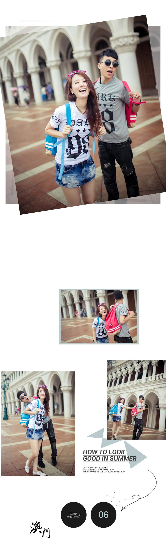 T恤.潮T.MIT純棉.Tshirt.情侶裝.簡約V領素色袖上特色徽章短T【D9757】艾咪E舖.班服