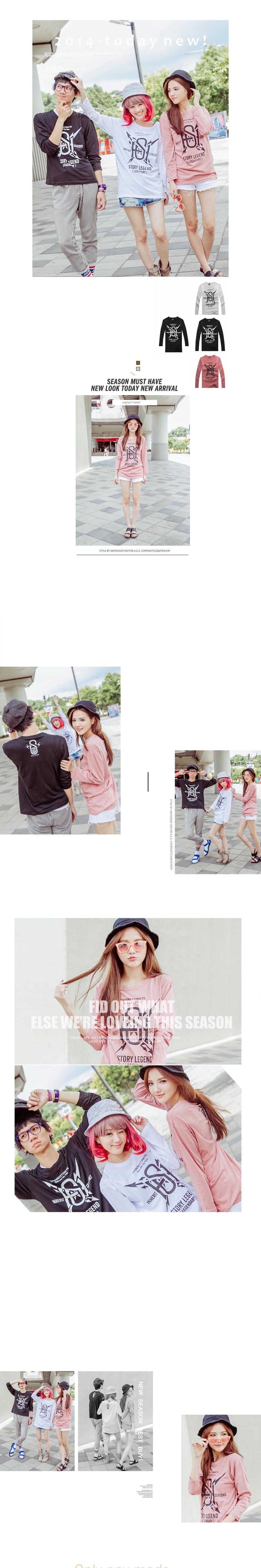 MIT台灣製  純棉   T-Shirt   T恤   長袖T恤   情侶T恤   SH 英文圖騰閃電矛設計長T 【M4216】艾咪E舖    情侶長袖