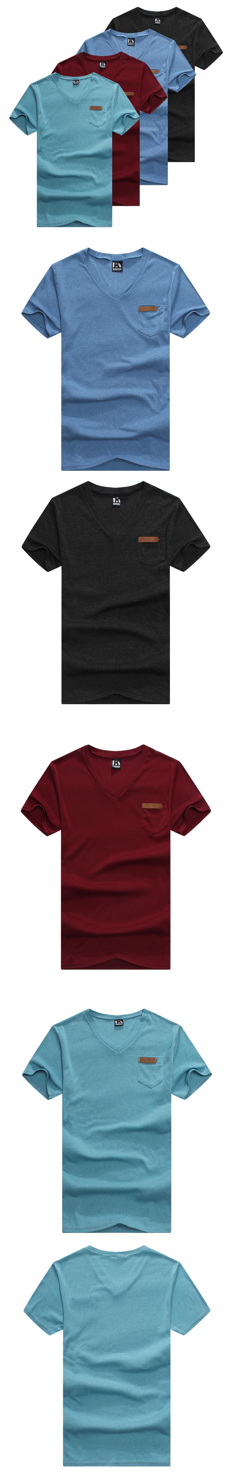 T恤.潮T.Tshirt 情侶裝.情侶T恤.自我風格.皮標小口袋V領T【M4114】艾咪E舖.班服