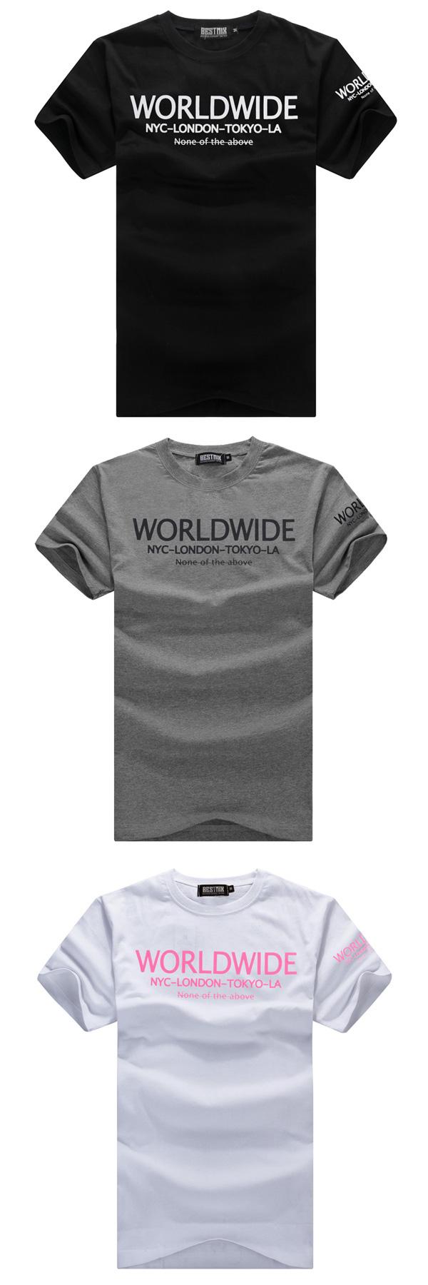 T恤.潮T.Tshirt 情侶裝.MIT純棉.情侶T恤.短T.WORLDWIDE簡單字【T5463】艾咪E舖.班服