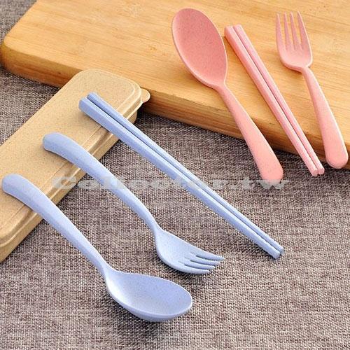 【F16061302】韓國小麥秸稈環保餐具盒 筷子+湯匙+叉子+收納盒 四件組 攜帶式