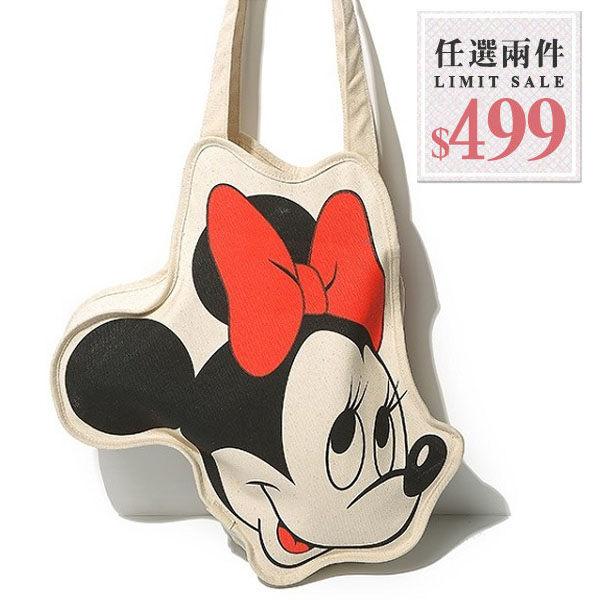 帆布側背包-迪士尼卡通米妮大頭造型帆布包【AN SHOP】