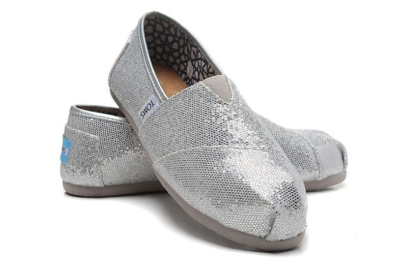 【TOMS】經典亮片款平底休閒鞋(銀色)  Sliver Glitter Women's Classics