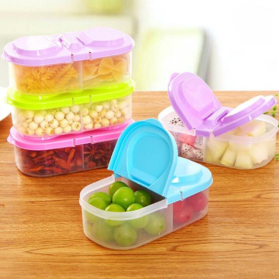 雙格有蓋廚房食品雜糧密封罐/多功能廚房冰箱塑膠儲物收納盒29元【省錢博士】