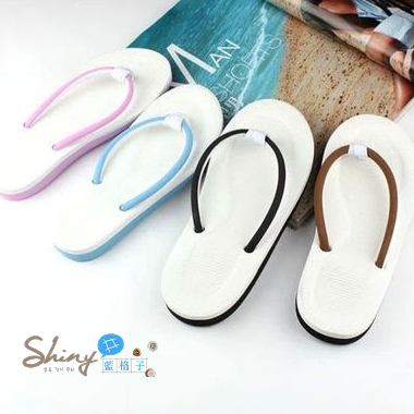 【X005】shiny藍格子-秋作出遊.簡約男女情侶防滑沙灘夾腳拖鞋