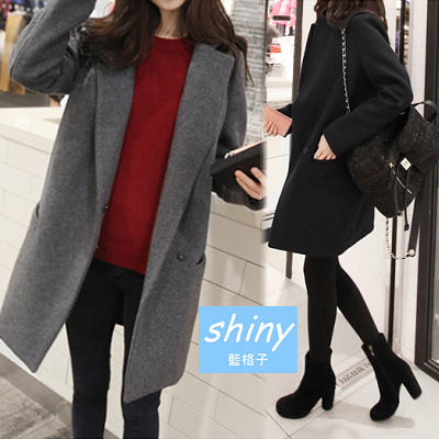 【V309】shiny藍格子-輕熟時尚.簡約翻領毛呢長袖中長大衣外套