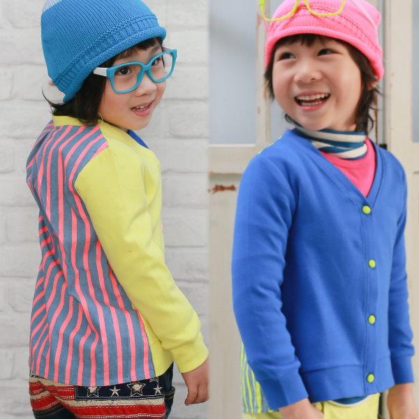 【班比納精品童裝】彈力棉拼接條紋螢光造型小外套-寶藍/黃-兩色可選【BD150907003/04】