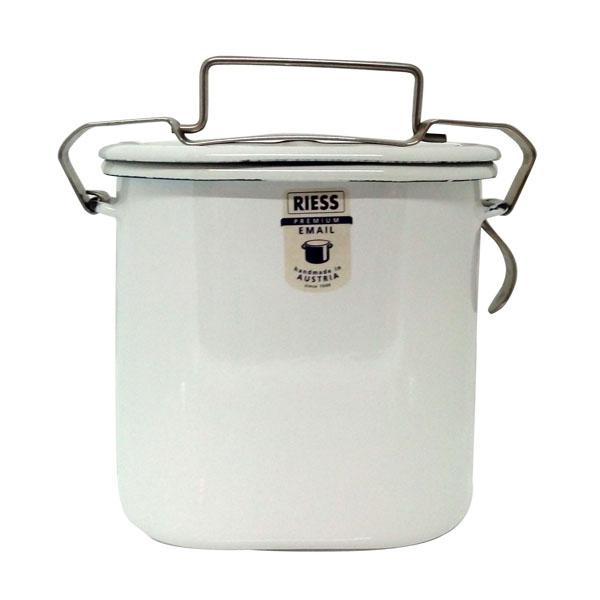 【奧地利RIESS】純白系列琺瑯手提(直立式深型)單層便當盒12cm / 0.75L