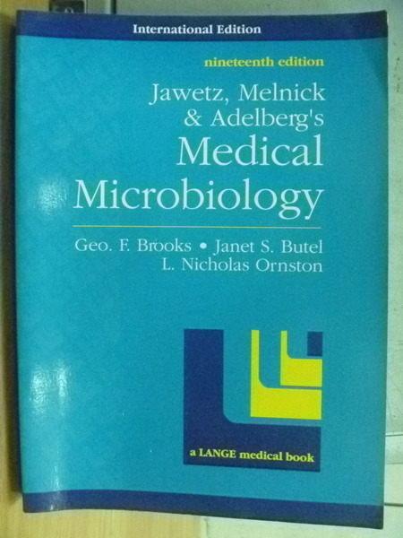 【書寶二手書T5/大學理工醫_RHN】Medical Microbiology_Geo F Brooks等_1991年