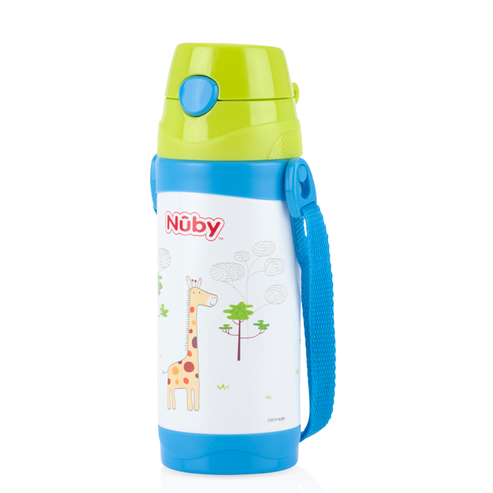 Nuby - 不銹鋼真空背帶水壺 (細吸管) 360ml 長頸鹿
