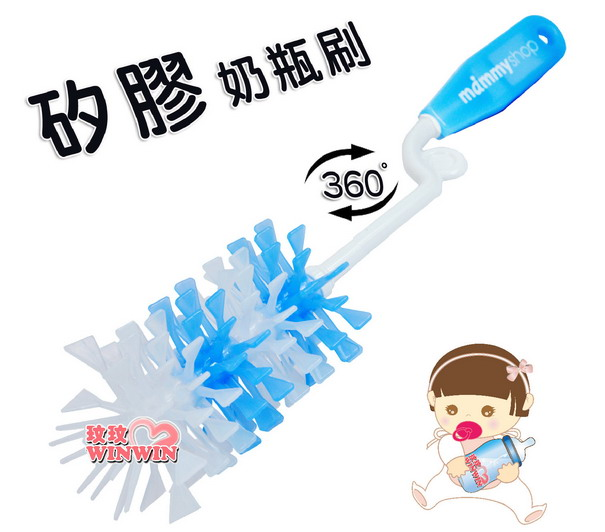 媽咪小站矽膠奶瓶刷 No.017035 刷毛採用矽膠製成,柔軟、耐用、不變形,可消毒鍋消毒