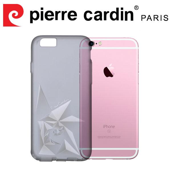 [ iPhone6/6s Plus ] Pierre Cardin法國皮爾卡登3D立體玫瑰TPU透明手機殼 透黑色